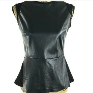 Nordstrom Bagatelle Faux Leather Peplum Top Black